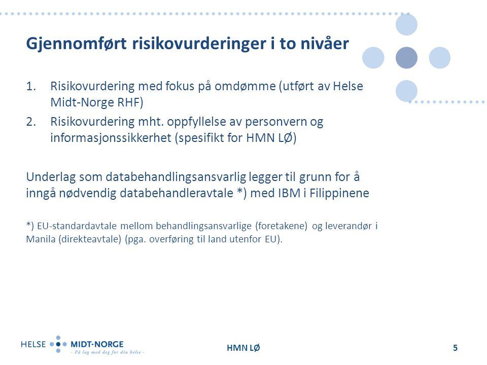 Gjennomført risikovurderinger i to nivåer 1.Risikovurdering med fokus på omdømme (utført av Helse Midt-Norge RHF) 2.Risikovurdering mht.