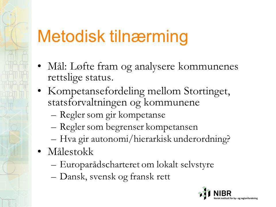 Metodisk tilnærming Mål: Løfte fram og analysere kommunenes rettslige status.