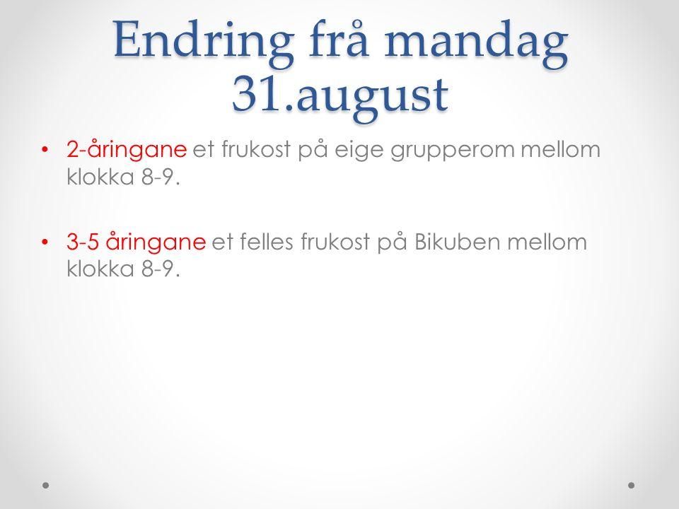Endring frå mandag 31.august 2-åringane et frukost på eige grupperom mellom klokka 8-9.