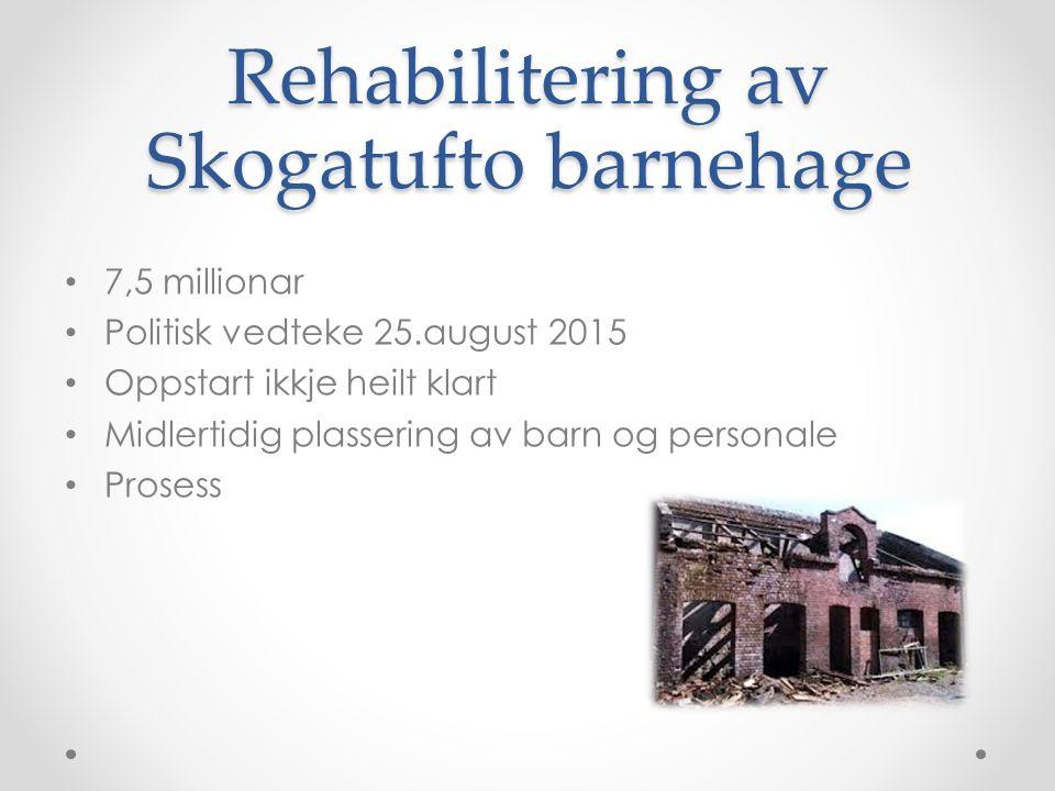 Rehabilitering av Skogatufto barnehage 7,5 millionar Politisk vedteke 25.august 2015 Oppstart ikkje heilt klart Midlertidig plassering av barn og personale Prosess