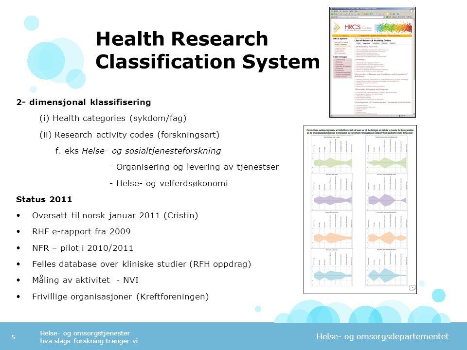 Helse- og omsorgsdepartementet Helse- og omsorgstjenester hva slags forskning trenger vi 5 Health Research Classification System 2- dimensjonal klassi