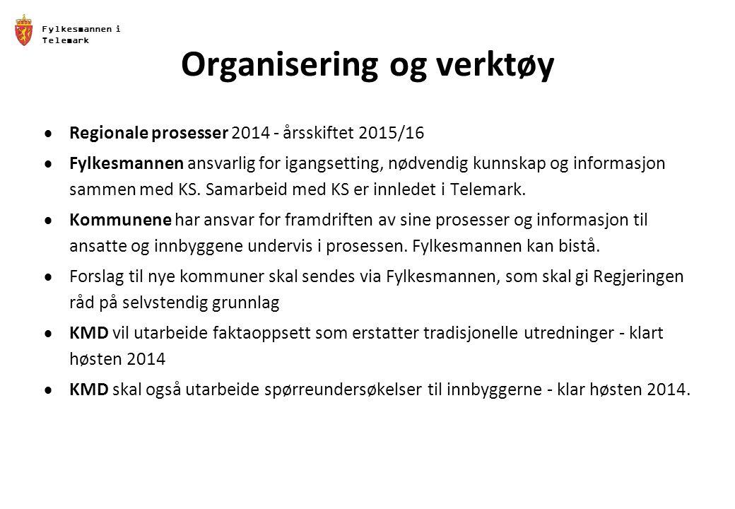 Fylkesmannen i Telemark Organisering og verktøy  Regionale prosesser 2014 - årsskiftet 2015/16  Fylkesmannen ansvarlig for igangsetting, nødvendig kunnskap og informasjon sammen med KS.