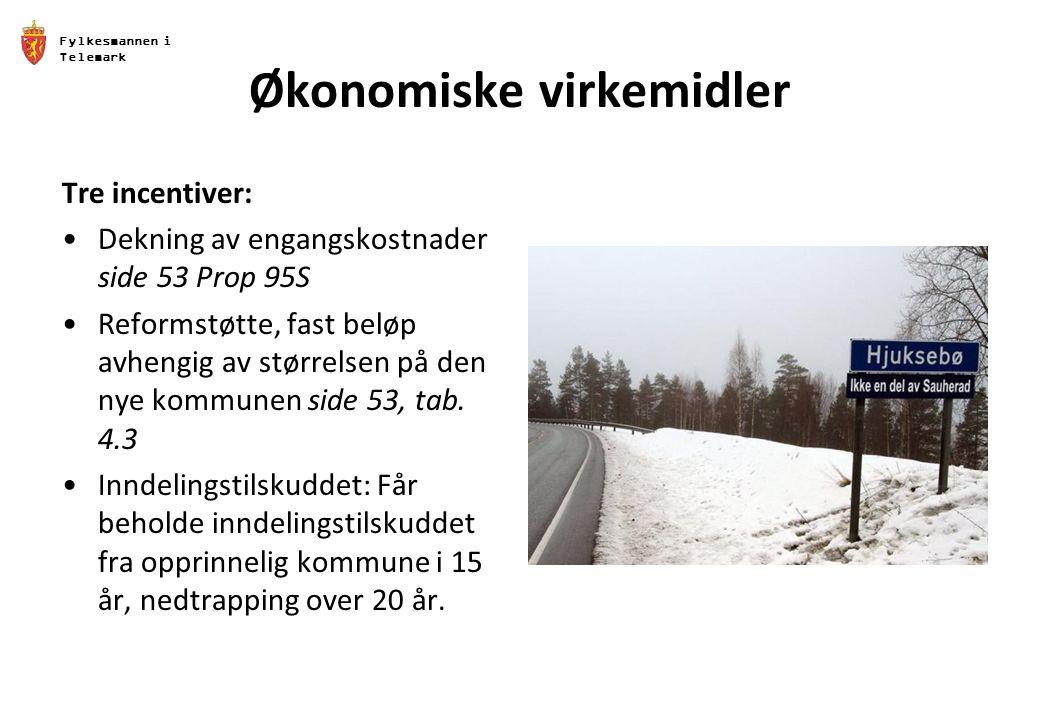 Fylkesmannen i Telemark Økonomiske virkemidler Tre incentiver: Dekning av engangskostnader side 53 Prop 95S Reformstøtte, fast beløp avhengig av størrelsen på den nye kommunen side 53, tab.