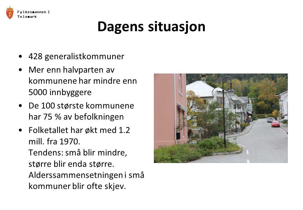 Fylkesmannen i Telemark Dagens situasjon 428 generalistkommuner Mer enn halvparten av kommunene har mindre enn 5000 innbyggere De 100 største kommunene har 75 % av befolkningen Folketallet har økt med 1.2 mill.