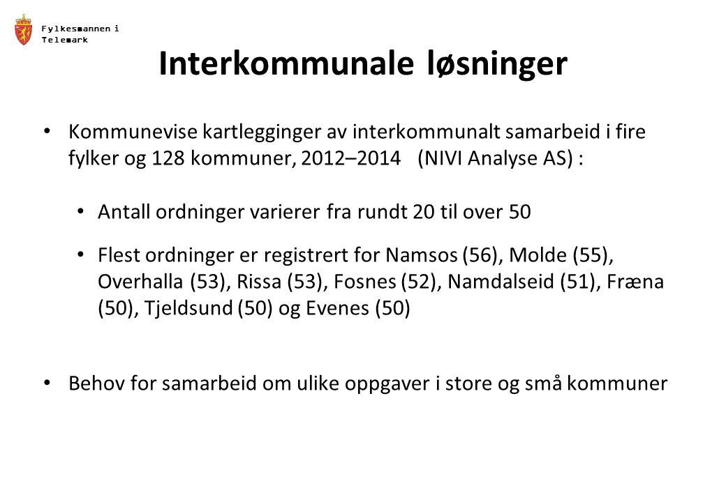 Fylkesmannen i Telemark Interkommunale løsninger Kommunevise kartlegginger av interkommunalt samarbeid i fire fylker og 128 kommuner, 2012–2014 (NIVI Analyse AS) : Antall ordninger varierer fra rundt 20 til over 50 Flest ordninger er registrert for Namsos (56), Molde (55), Overhalla (53), Rissa (53), Fosnes (52), Namdalseid (51), Fræna (50), Tjeldsund (50) og Evenes (50) Behov for samarbeid om ulike oppgaver i store og små kommuner