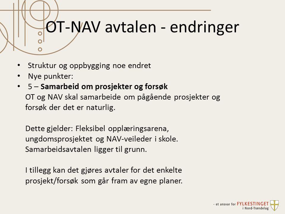 OT-NAV avtalen - endringer Struktur og oppbygging noe endret Nye punkter: 5 – Samarbeid om prosjekter og forsøk OT og NAV skal samarbeide om pågående prosjekter og forsøk der det er naturlig.