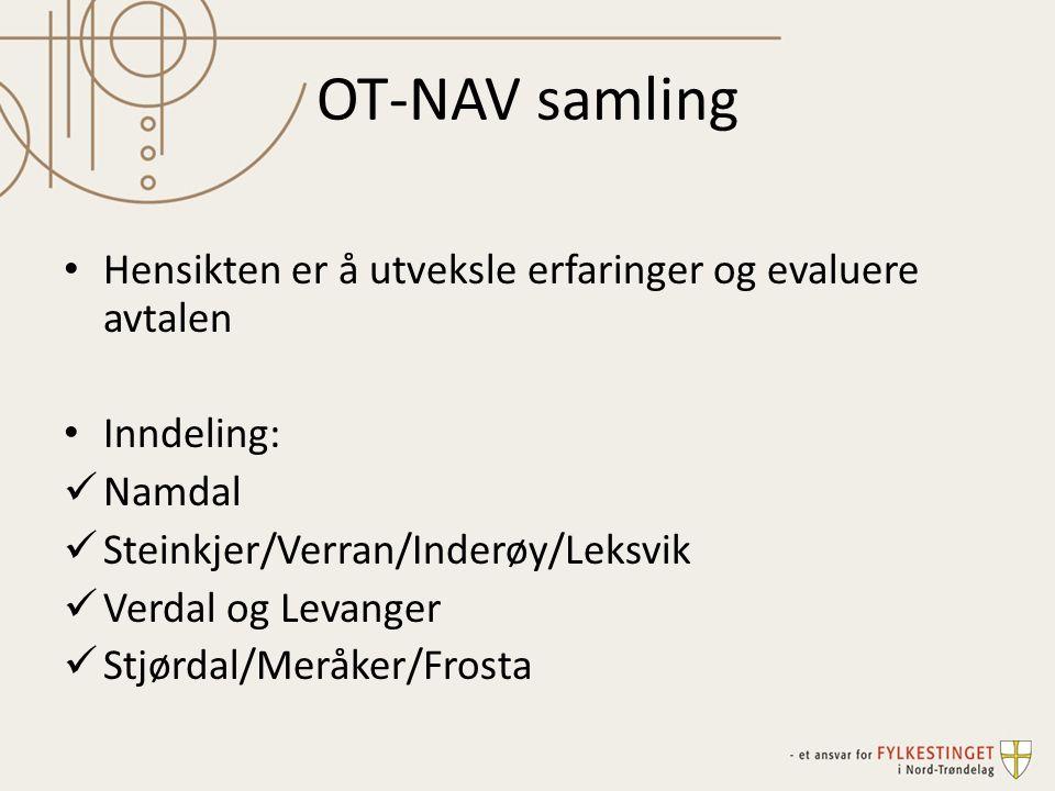 OT-NAV samling Hensikten er å utveksle erfaringer og evaluere avtalen Inndeling: Namdal Steinkjer/Verran/Inderøy/Leksvik Verdal og Levanger Stjørdal/Meråker/Frosta
