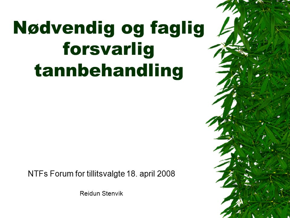 Nødvendig og faglig forsvarlig tannbehandling NTFs Forum for tillitsvalgte 18.