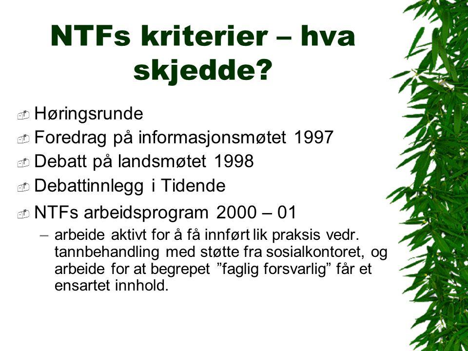 NTFs kriterier – hva skjedde.