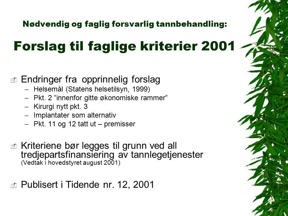 Nødvendig og faglig forsvarlig tannbehandling: Forslag til faglige kriterier 2001  Endringer fra opprinnelig forslag –Helsemål (Statens helsetilsyn, 1999) –Pkt.