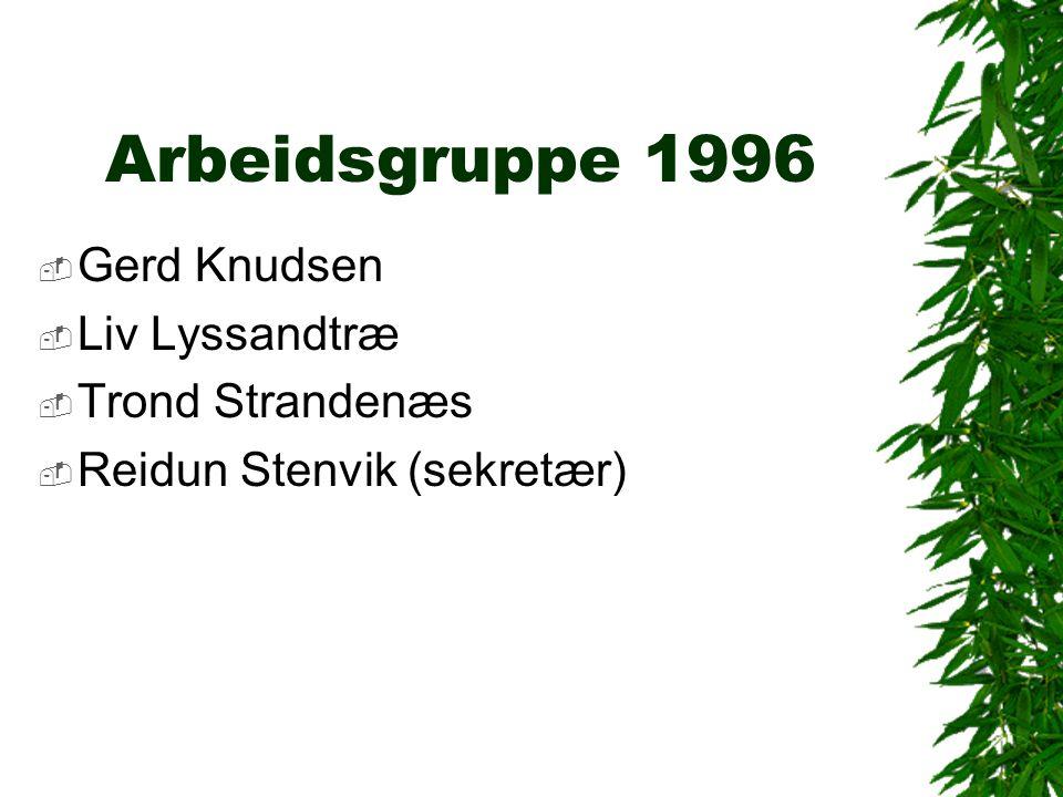 Arbeidsgruppe 1996  Gerd Knudsen  Liv Lyssandtræ  Trond Strandenæs  Reidun Stenvik (sekretær)