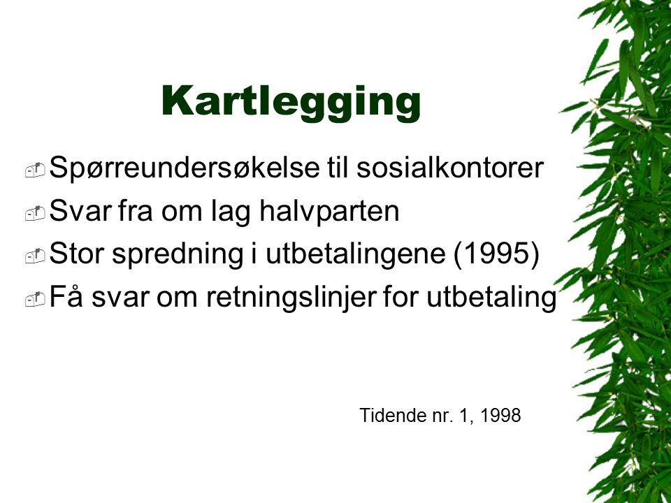 Kartlegging  Spørreundersøkelse til sosialkontorer  Svar fra om lag halvparten  Stor spredning i utbetalingene (1995)  Få svar om retningslinjer for utbetaling Tidende nr.