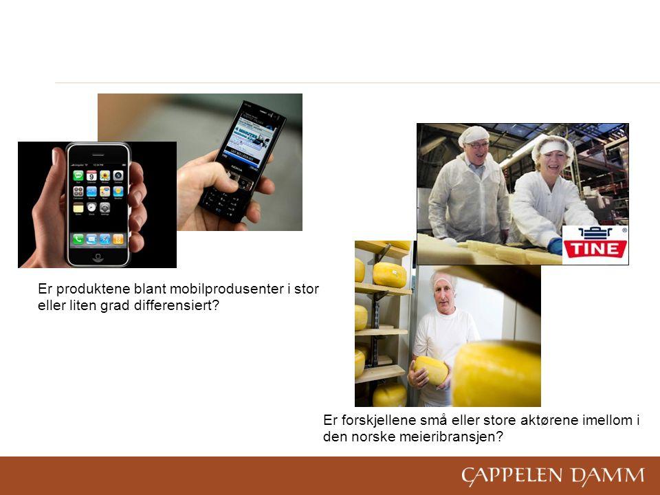 Er produktene blant mobilprodusenter i stor eller liten grad differensiert.