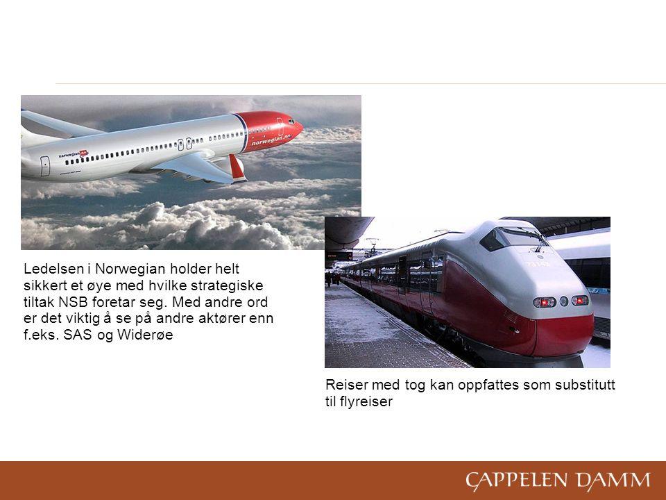Reiser med tog kan oppfattes som substitutt til flyreiser Ledelsen i Norwegian holder helt sikkert et øye med hvilke strategiske tiltak NSB foretar seg.