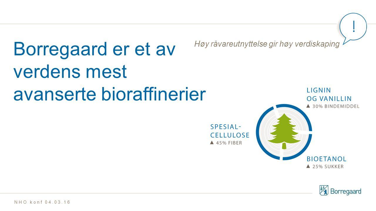 Borregaard er et av verdens mest avanserte bioraffinerier Høy råvareutnyttelse gir høy verdiskaping NHO konf 04.03.16