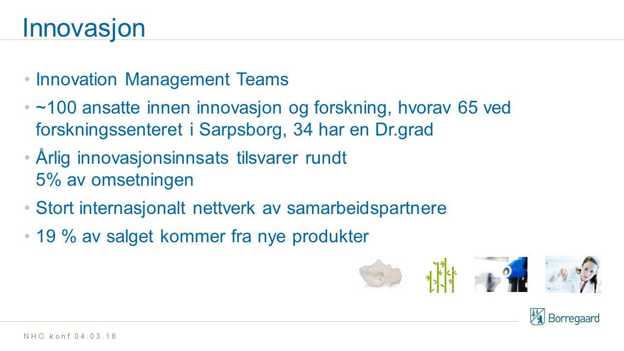 Innovasjon Innovation Management Teams ~100 ansatte innen innovasjon og forskning, hvorav 65 ved forskningssenteret i Sarpsborg, 34 har en Dr.grad Årlig innovasjonsinnsats tilsvarer rundt 5% av omsetningen Stort internasjonalt nettverk av samarbeidspartnere 19 % av salget kommer fra nye produkter NHO konf 04.03.16
