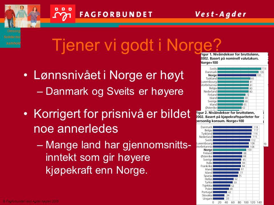 Omsorg Solidaritet samhold © Fagforbundet Vest-Agder høsten 2005 Tjener vi godt i Norge.