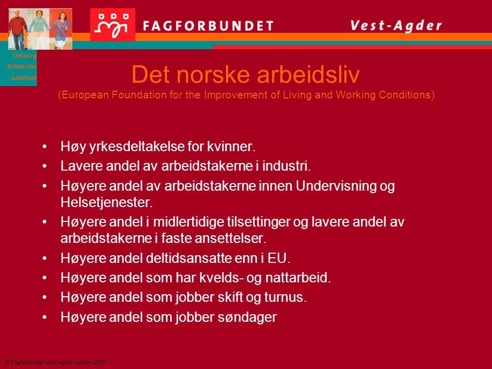 Omsorg Solidaritet samhold © Fagforbundet Vest-Agder høsten 2005 Det norske arbeidsliv (European Foundation for the Improvement of Living and Working Conditions) Høy yrkesdeltakelse for kvinner.