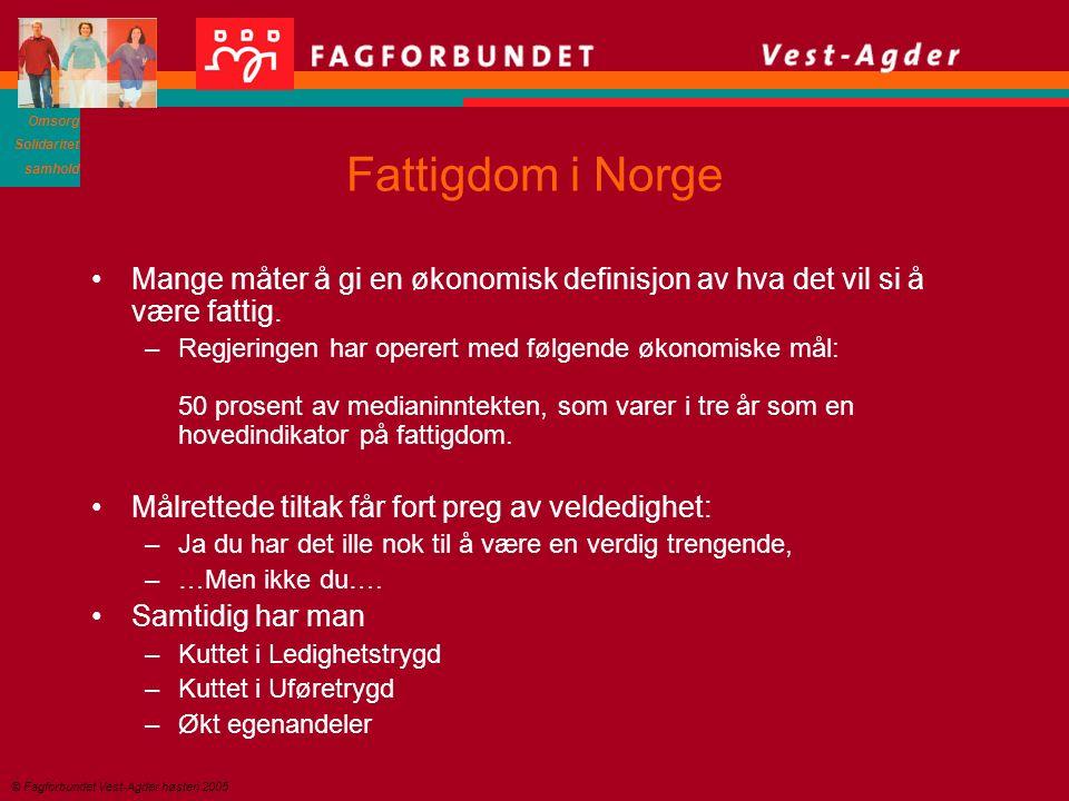 Omsorg Solidaritet samhold © Fagforbundet Vest-Agder høsten 2005 Fattigdom i Norge Mange måter å gi en økonomisk definisjon av hva det vil si å være fattig.