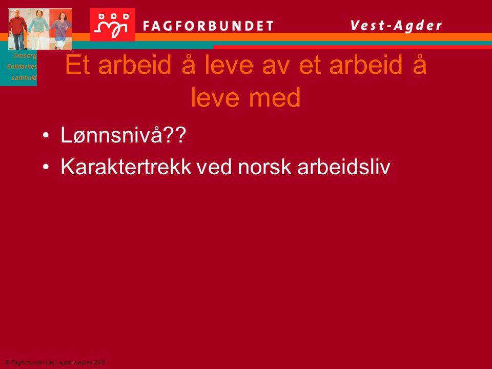 Omsorg Solidaritet samhold © Fagforbundet Vest-Agder høsten 2005 Et arbeid å leve av et arbeid å leve med Lønnsnivå?.