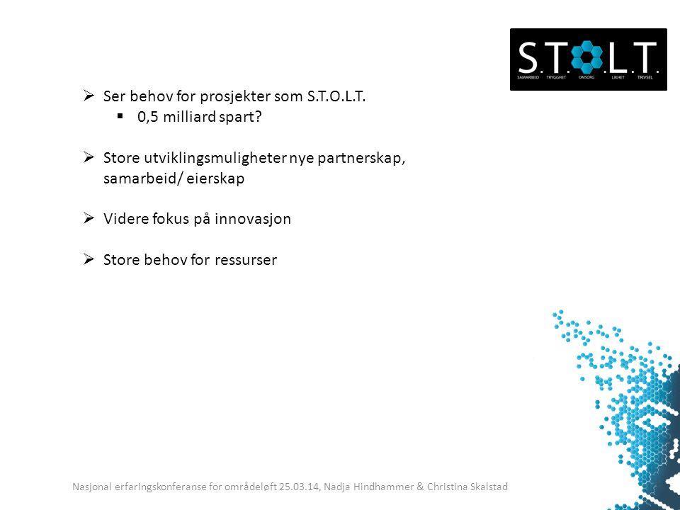 Nasjonal erfaringskonferanse for områdeløft 25.03.14, Nadja Hindhammer & Christina Skalstad  Ser behov for prosjekter som S.T.O.L.T.  0,5 milliard s