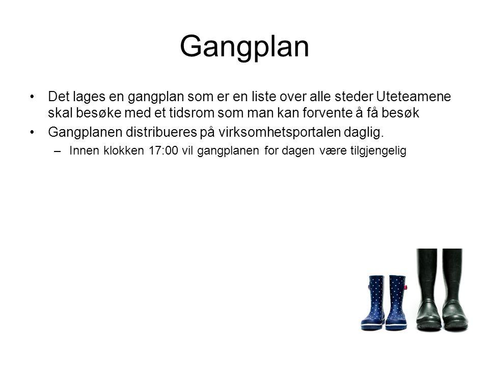 Gangplan Det lages en gangplan som er en liste over alle steder Uteteamene skal besøke med et tidsrom som man kan forvente å få besøk Gangplanen distribueres på virksomhetsportalen daglig.