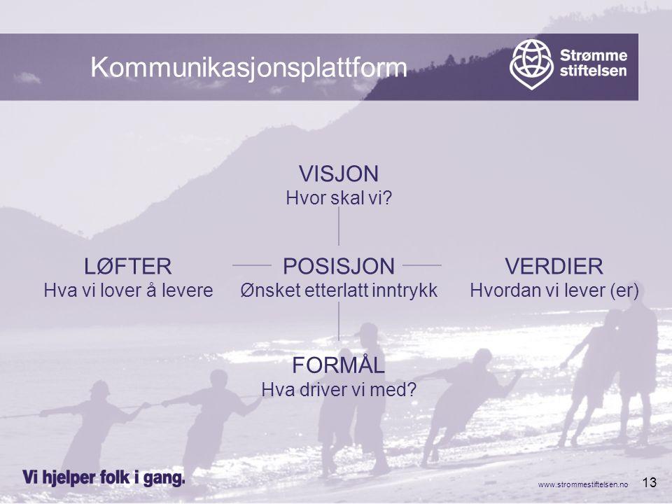 www.strommestiftelsen.no 13 Kommunikasjonsplattform VISJON Hvor skal vi? POSISJON Ønsket etterlatt inntrykk FORMÅL Hva driver vi med? VERDIER Hvordan