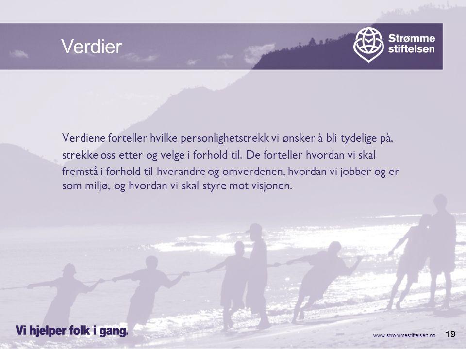 www.strommestiftelsen.no 19 Verdiene forteller hvilke personlighetstrekk vi ønsker å bli tydelige på, strekke oss etter og velge i forhold til. De for