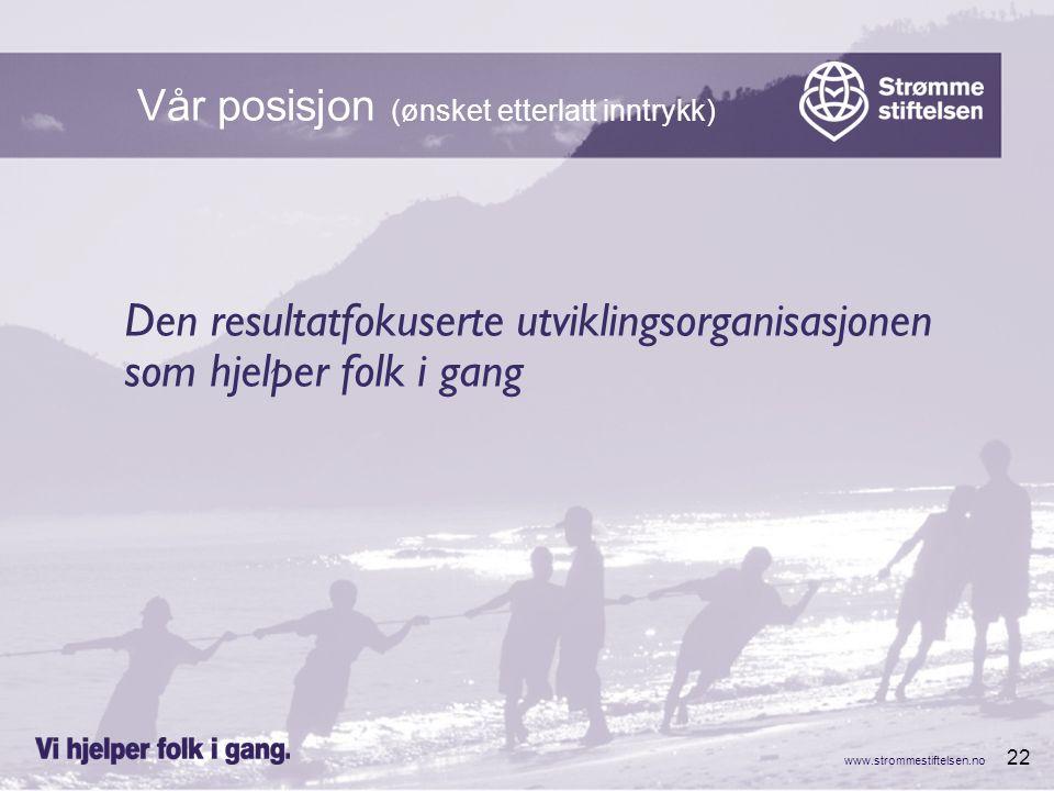 www.strommestiftelsen.no 22 Den resultatfokuserte utviklingsorganisasjonen som hjelper folk i gang Vår posisjon (ønsket etterlatt inntrykk)