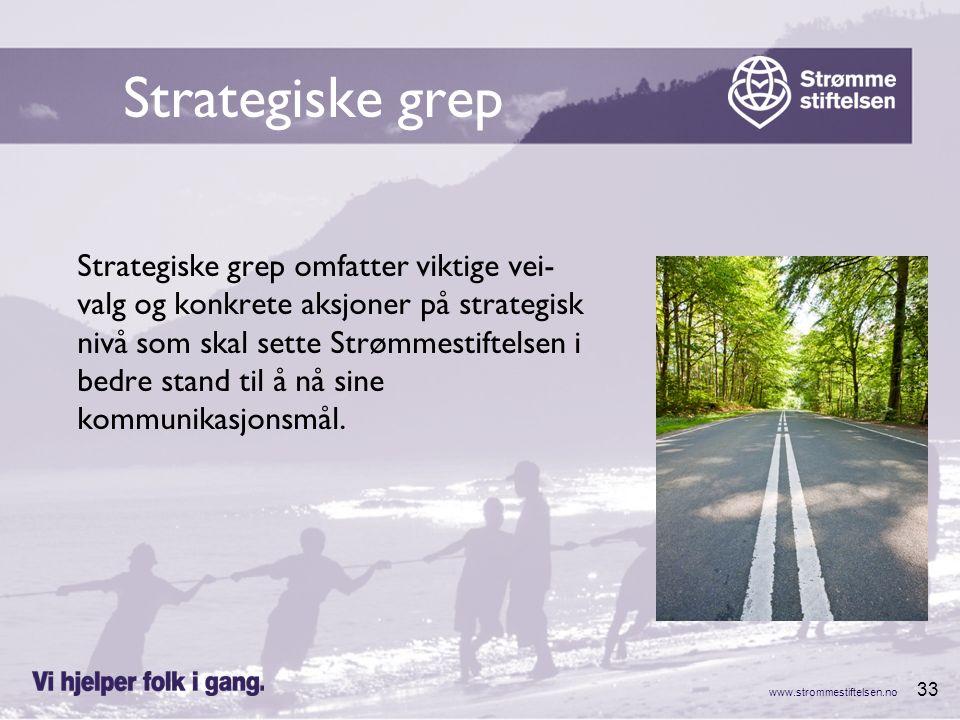 www.strommestiftelsen.no 33 Strategiske grep Strategiske grep omfatter viktige vei- valg og konkrete aksjoner på strategisk nivå som skal sette Strømm