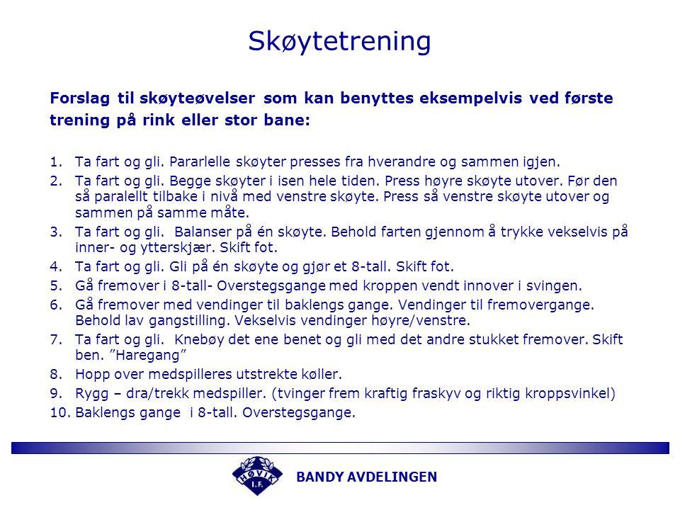 BANDY AVDELINGEN Skøytetrening Forslag til skøyteøvelser som kan benyttes eksempelvis ved første trening på rink eller stor bane: 1.Ta fart og gli.