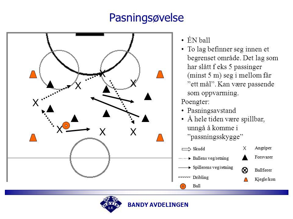 BANDY AVDELINGEN Målvakt trening.....X Legg opp 20-25 baller.