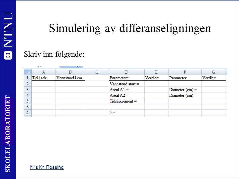10 SKOLELABORATORIET Simulering av differanseligningen Nils Kr. Rossing Skriv inn følgende: