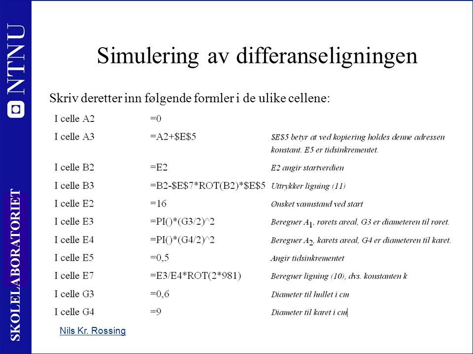 11 SKOLELABORATORIET Nils Kr. Rossing Simulering av differanseligningen Skriv deretter inn følgende formler i de ulike cellene: