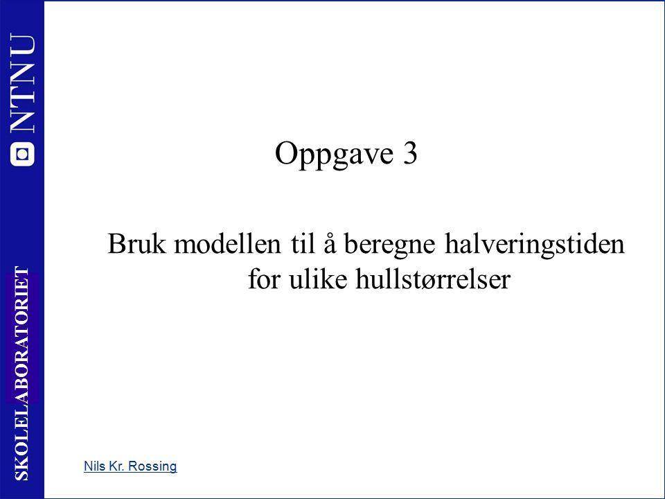 17 SKOLELABORATORIET Nils Kr. Rossing Oppgave 3 Bruk modellen til å beregne halveringstiden for ulike hullstørrelser