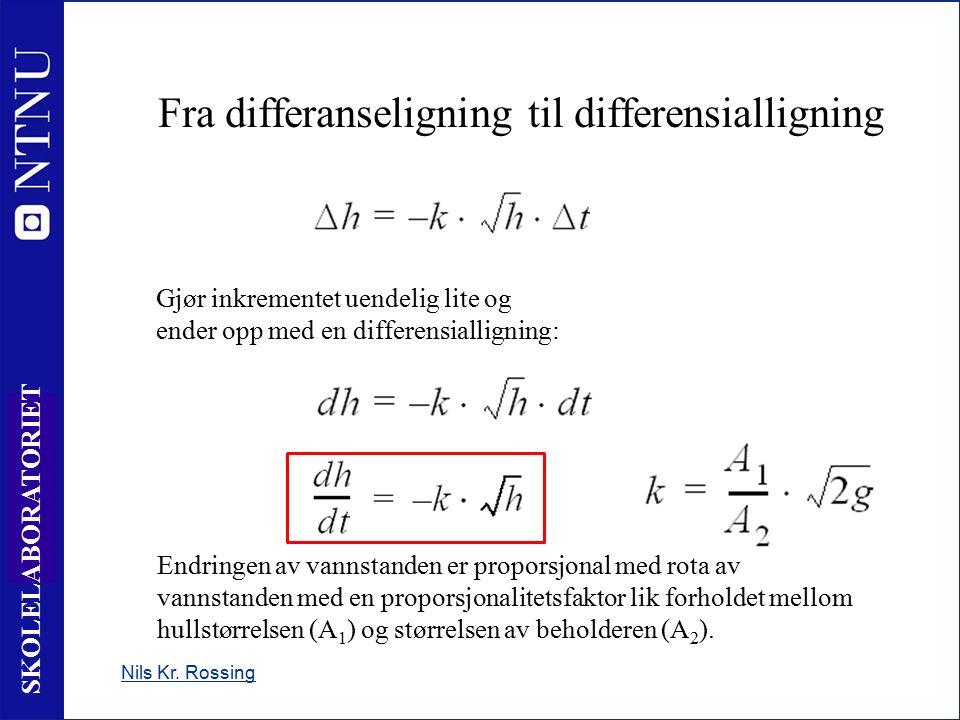 20 SKOLELABORATORIET Fra differanseligning til differensialligning Nils Kr. Rossing Gjør inkrementet uendelig lite og ender opp med en differensiallig