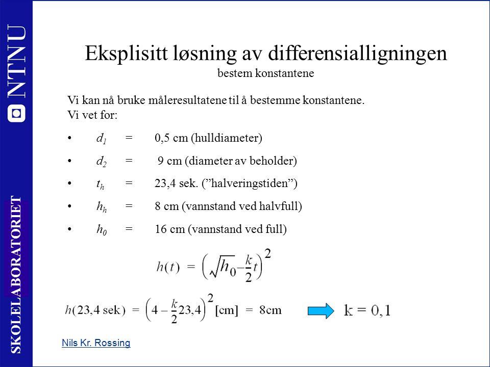 25 SKOLELABORATORIET Nils Kr. Rossing Eksplisitt løsning av differensialligningen bestem konstantene Vi kan nå bruke måleresultatene til å bestemme ko