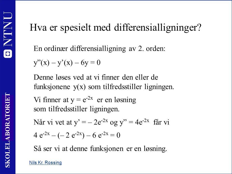 4 SKOLELABORATORIET Hva er spesielt med differensialligninger.