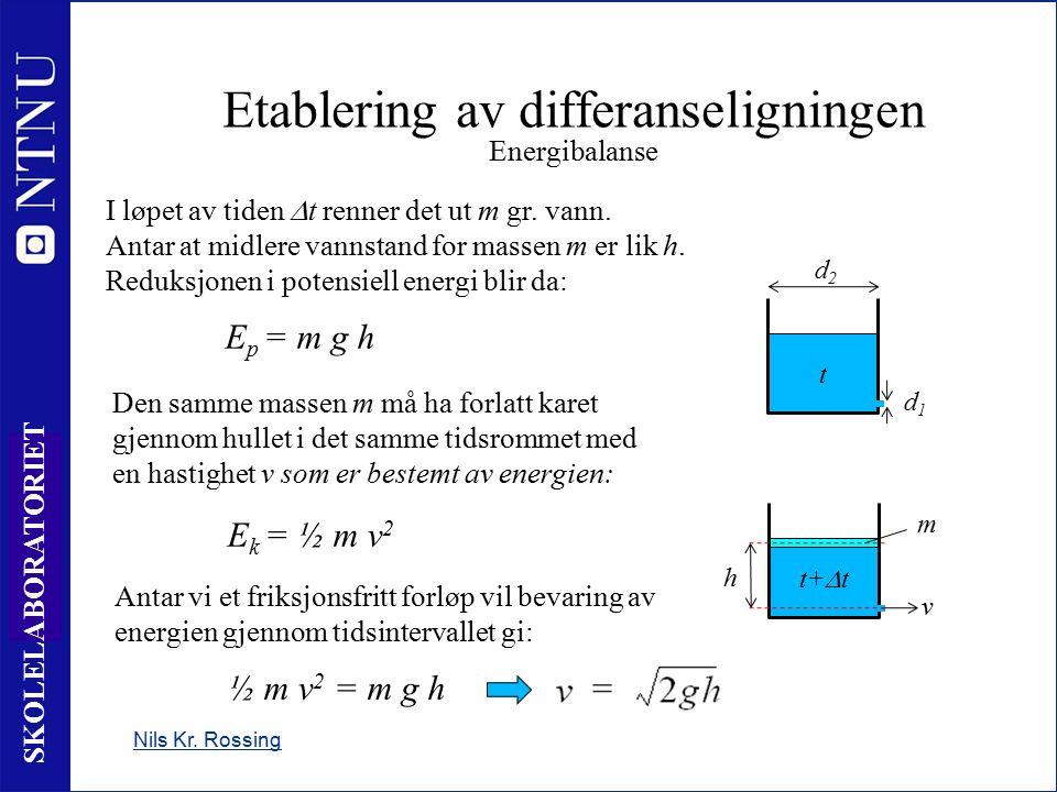6 SKOLELABORATORIET Etablering av differanseligningen Energibalanse Nils Kr. Rossing I løpet av tiden  t renner det ut m gr. vann. Antar at midlere v