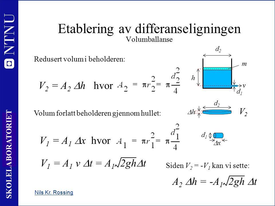 7 SKOLELABORATORIET Nils Kr. Rossing Etablering av differanseligningen Volumballanse h m v d2d2 d1d1 Redusert volum i beholderen: V 2 = A 2  h hvor V