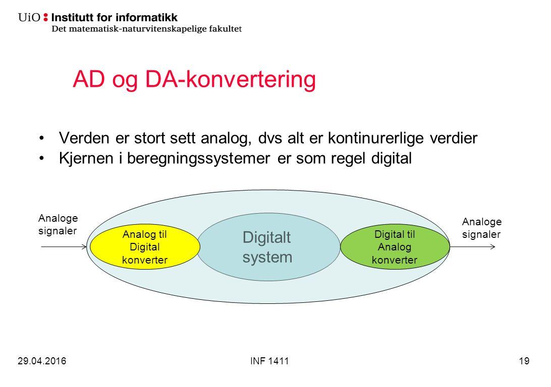AD og DA-konvertering Verden er stort sett analog, dvs alt er kontinurerlige verdier Kjernen i beregningssystemer er som regel digital 29.04.2016INF 141119 Digitalt system Analog til Digital konverter Digital til Analog konverter Analoge signaler Analoge signaler