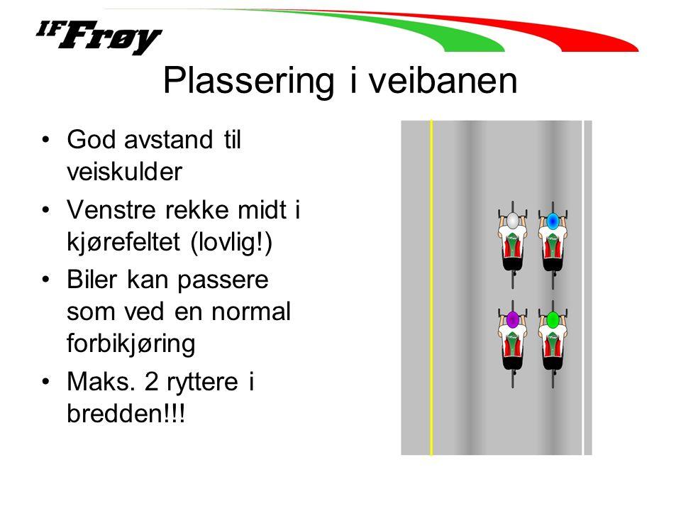 Plassering i veibanen God avstand til veiskulder Venstre rekke midt i kjørefeltet (lovlig!) Biler kan passere som ved en normal forbikjøring Maks. 2 r