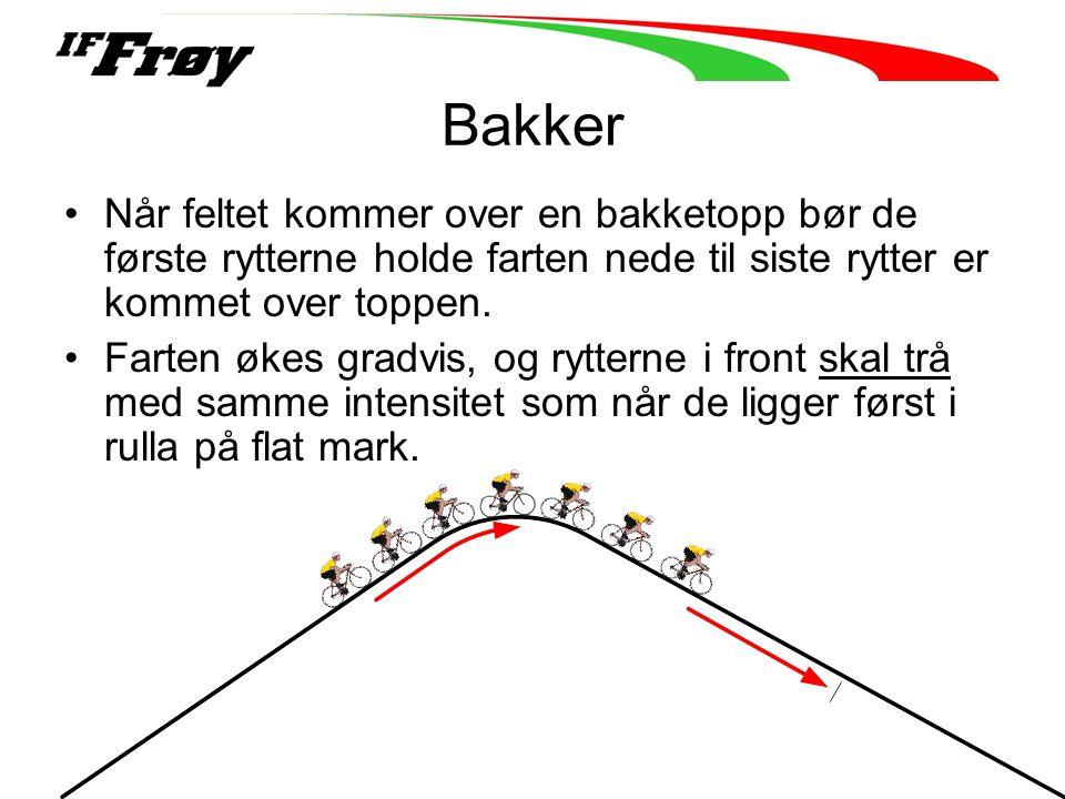 Bakker Når feltet kommer over en bakketopp bør de første rytterne holde farten nede til siste rytter er kommet over toppen.
