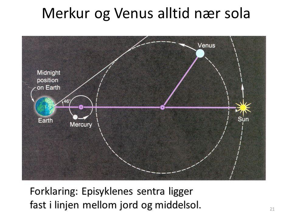 21 Merkur og Venus alltid nær sola Forklaring: Episyklenes sentra ligger fast i linjen mellom jord og middelsol.