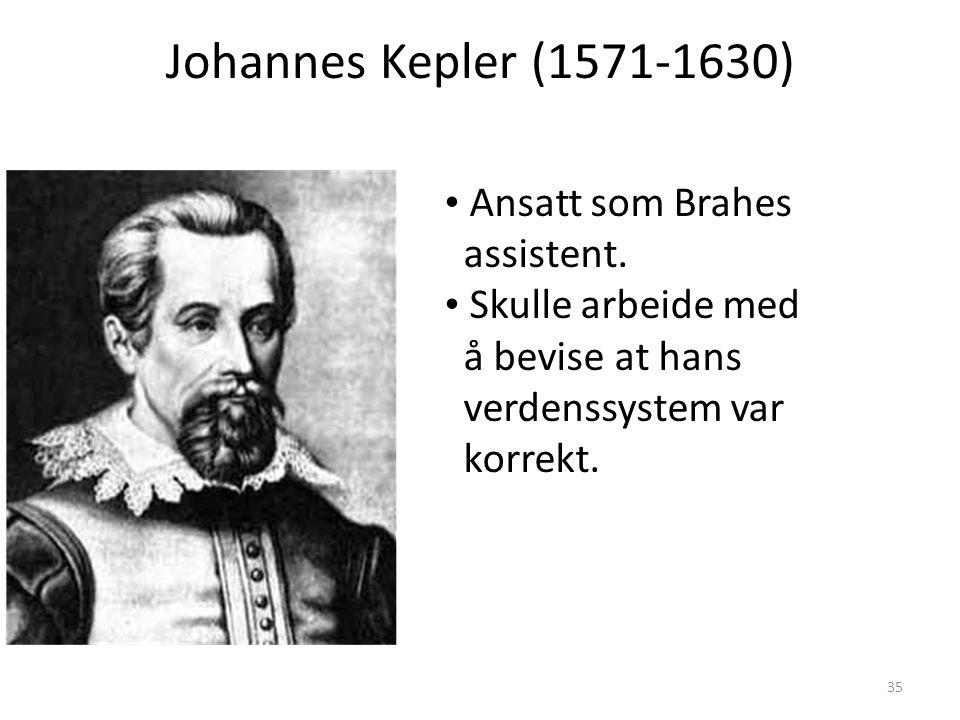 35 Johannes Kepler (1571-1630) Ansatt som Brahes assistent.