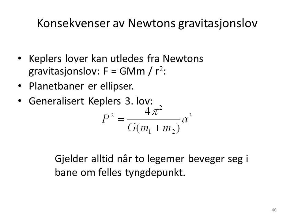 46 Konsekvenser av Newtons gravitasjonslov Keplers lover kan utledes fra Newtons gravitasjonslov: F = GMm / r 2 : Planetbaner er ellipser.