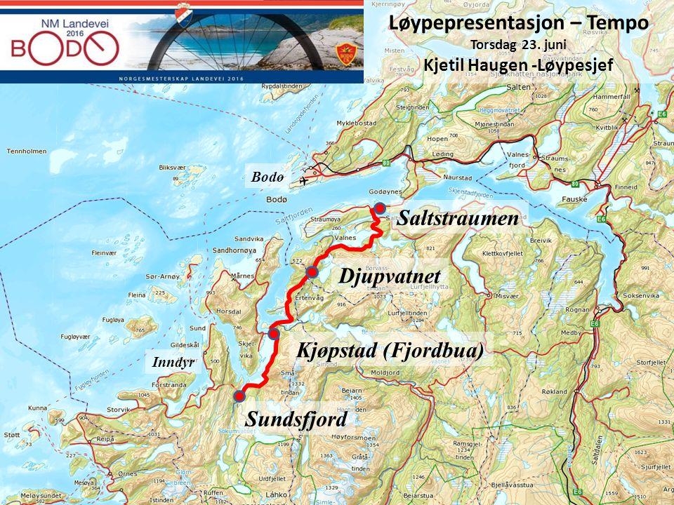Bodø Saltstraumen Djupvatnet Kjøpstad (Fjordbua) Sundsfjord Inndyr Løypepresentasjon – Tempo Torsdag 23. juni Kjetil Haugen -Løypesjef