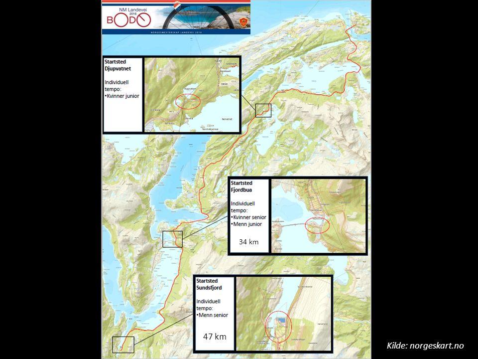 Kilde: norgeskart.no 47 km 34 km