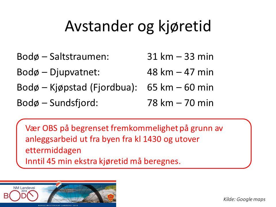 Avstander og kjøretid Bodø – Saltstraumen: Bodø – Djupvatnet: Bodø – Kjøpstad (Fjordbua): Bodø – Sundsfjord: 31 km – 33 min 48 km – 47 min 65 km – 60 min 78 km – 70 min Kilde: Google maps Vær OBS på begrenset fremkommelighet på grunn av anleggsarbeid ut fra byen fra kl 1430 og utover ettermiddagen Inntil 45 min ekstra kjøretid må beregnes.