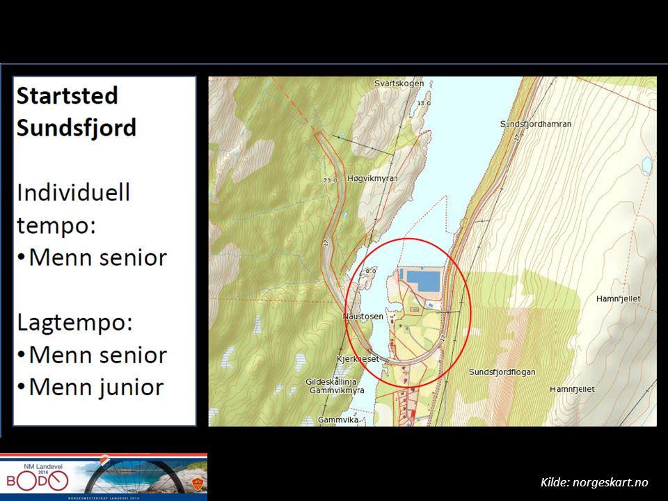 Risikovurdering Uoversiktlige svinger – Generelt i hele løypa – Spesielt ved alle tre startstedene Mye tungtrafikk og turisttrafikk – Vær OBS på møtende biler – kutting av svinger, forbikjøring – Unngå kryssing av midtlinje Tunnel 2 km nord for startsted Fjordbua – Lengde 250 m – Dårlig belysning – Smal vegbane Google Streetview